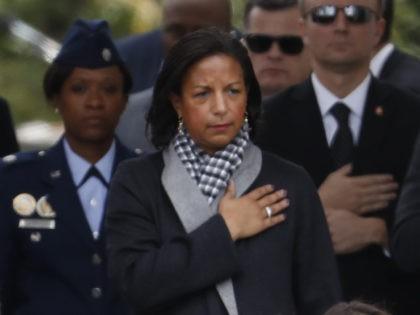 Susan Rice hand on heart (Carolyn Kaster / Associated Press)