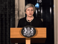 Prime Minister Theresa May makes a statement in Downing street following the terrorist incident in westminster on March 22, 2017 in London, England.