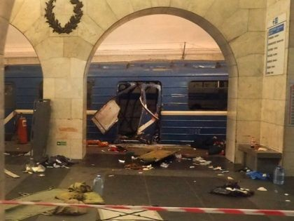 A picture shows the damaged train carriage at Technological Institute metro station in Saint Petersburg on April 3, 2017. Around 10 people were feared dead and dozens injured Monday after an explosion rocked the metro system in Russia's second city Saint Petersburg, according to authorities, who were not ruling out …