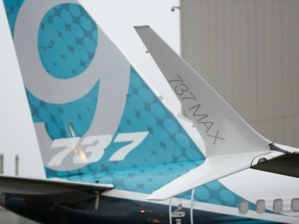 The split-tip winglet (R) and tail fin of the first Boeing 737 MAX 9 airplane are pictured during its rollout for media at the Boeing factory in Renton, Washington on March 7, 2017. / AFP PHOTO / Jason Redmond (Photo credit should read JASON REDMOND/AFP/Getty Images)