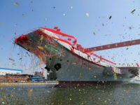 DALIAN, CHINA - APRIL 26: A launching ceremony is held for China's first domestically developed aircraft carrier at Dalian Port on April 26, 2017 in Dalian, Liaoning Province of China. China launches its second aircraft carrier which is its first homemade aircraft carrier carrying J-15 fighter jets and other aircraft on Wednesday in Dalian. (Photo by VCG/VCG via Getty Images)