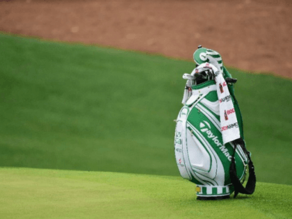 The bag of Dustin Johnson of the United States is seen on the tenth hole during a practice round prior to the start of the 2017 Masters Tournament at Augusta National Golf Club on April 5, 2017 in Augusta, Georgia