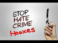 hate crime hoax sign