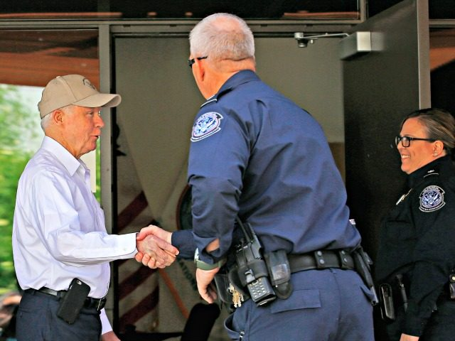 Attorney General Jeff Sessions, left, shakes hands with U.S. Customs and Border Protection officers as he tours the U.S.-Mexico border Tuesday, April 11, 2017, in Nogales, Ariz. Sessions announced making immigration enforcement a key Justice Department priority, saying he will speed up deportations of immigrants in the country illegally who …