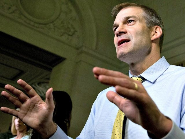 Freedom Caucus Chairman and member of the House Select Committee on Benghazi Rep. Jim Jordan, R-Ohio, is interviewed at the conclusion of the hearing on Capitol Hill in Washington, Thursday, Oct. 22, 2015. (AP Photo/Manuel Balce Ceneta)