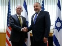 Israel�s Minister of Defense Avigdor Lieberman (R) welcomes U.S. Defense Secretary James Mattis (L) for a meeting in his office at the Ministry of Defense in Tel Aviv, Israel April 21, 2017. REUTERS/Jonathan Ernst /// Israel's Minister of Defense Avigdor Lieberman (R) welcomes U.S. Defense Secretary James Mattis for a …