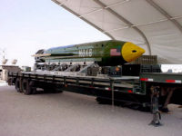 The GBU-43/B Massive Ordnance Air Blast (MOAB) bomb is pictured in this undated handout photo. Elgin Air Force Base/Handout via REUTERS