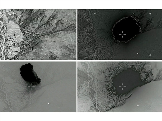 A combination of still images taken from a video released by the U.S. Department of Defense on April 14, 2017 shows (clockwise) the explosion of a MOAB, or 'mother of all bombs', when it struck the Achin district of the eastern province of Nangarhar, Afghanistan, bordering Pakistan where U.S. officials …