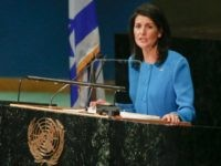 U.S. United Nations Ambassador Nikki Haley speaks during the BDS (Boycott, Divestment and Sanctions) summit, focused on combating the anti-Israel boycott movement, Wednesday, March 29, 2017 at U.N. headquarters. (AP Photo/Bebeto Matthews)