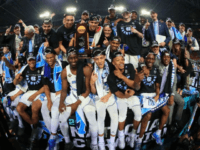 The North Carolina Tar Heels celebrate after defeating the Gonzaga Bulldogs during the 2017 NCAA Men's Final Four National Championship game, at University of Phoenix Stadium in Glendale, Arizona, on April 3