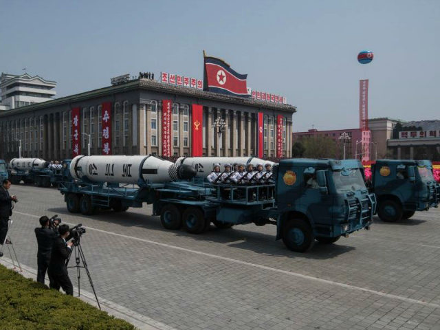 An unidentified mobile rocket lancher is displayed during a military parade marking the 105th anniversary of the birth of late North Korean leader Kim Il-Sung, in Pyongyang on April 15, 2017. / AFP PHOTO / ED JONES (Photo credit should read ED JONES/AFP/Getty Images)