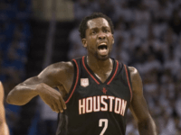 Patrick Beverley of the Houston Rockets reacts after being charged with a foul against the Oklahoma City Thunder on April 21, 2017