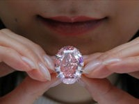 The Pink Star diamond, the most valuable cut diamond ever offered at auction, is displayed by a model at a Sotheby's auction room in Hong Kong, Wednesday, March 29, 2017. It is the largest internally flawless fancy vivid pink diamond ever graded by the GIA. The diamond estimated in excess …