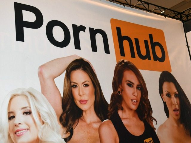 LAS VEGAS, NV - JANUARY 18: A sign at the Pornhub (pornography) booth is displayed at the 2017 AVN Adult Entertainment Expo at the Hard Rock Hotel & Casino on January 18, 2017 in Las Vegas, Nevada. (Photo by Ethan Miller/Getty Images)