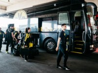 MUNICH, GERMANY - APRIL 08: Marc Aregall Bartra of Dortmund arrives next to the team bus prior to the Bundesliga match between Bayern Muenchen and Borussia Dortmund at Allianz Arena on April 8, 2017 in Munich, Germany. (Photo by Alexander Scheuber/Getty Images Fuer MAN)