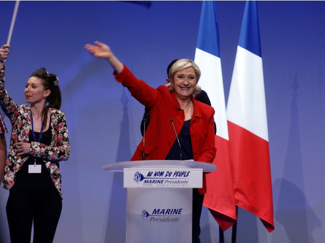 PARIS, FRANCE - APRIL 17: French presidential far-right candidate Marine Le Pen waves on stage for after her speech during a campaign rally at Zenith on April 17, 2017 in Paris, France. (Photo by Sylvain Lefevre/Getty Images)