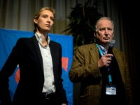 COLOGNE, GERMANY - APRIL 23: The members of the national directorate of the AfD party Alice Weidel and Alexander Gauland on stage at a press conference after being elected as the leading duo for the general elections during the federal congress of the right-wing populist Alternative for Germany (AfD) political …