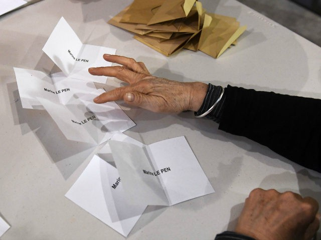 Volunteers count the ballots at the end of the first round of the French presidential election first round vote in Marseille, southern France on April 23, 2017. Centrist Emmanuel Macron will face off against far-right Marine Le Pen in the second round of France's presidential election, projections showed Sunday, making …