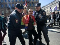 Police detain a gay rights activist during May Day demonstration in Saint Petersburg, Russia, 01 may 2016 (Photo by Valya Egorshin/NurPhoto via Getty Images)