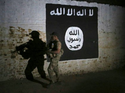 FILE - In this March 1, 2017 file photo, an Iraqi soldier inspects a recently-discovered train tunnel, adorned with an Islamic State group flag, that belonged to the former Baghdad to Mosul line, that was turned it to a training camp for IS fighters, in western Mosul, Iraq. Some 40 …