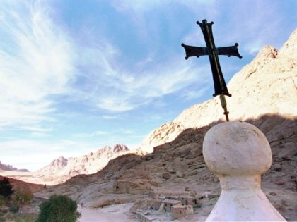 In this Wednesday, Jan. 7, 1998 file photo, the shadow of Mount Sinai stretches across the valley at the foot of the Greek Orthodox Monastery of St. Catherine in the Sinai peninsula some 240 miles southeast of Cairo, Egypt. Gunmen intercepted a tourist minivan and snatched two female American tourists …