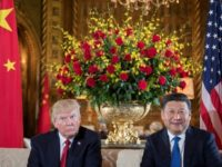 US President Donald Trump (L) sits with Chinese President Xi Jinping (R) during a bilateral meeting at the Mar-a-Lago estate in West Palm Beach, Florida, on April 6, 2017