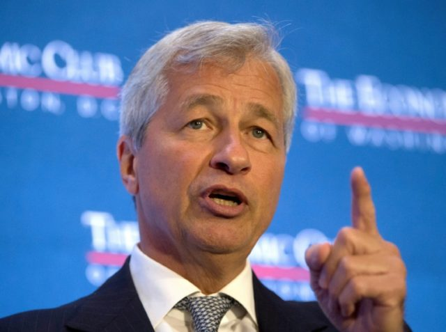 "JPMorgan chief executive Jamie Dimon gave a generally positive outlook Thursday, saying, ""US consumers and businesses are healthy overall and with pro-growth initiatives"""