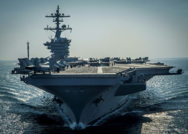 """US Vice President Mike Pence said a naval strike group headed by the USS Carl Vinson aircraft carrier will arrive in the Sea of Japan """"before the end of this month"""""""