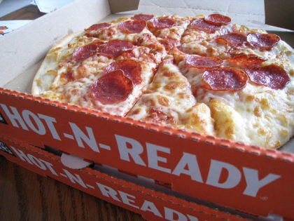 Little Caesar's Hot-n-Ready pizza. Pepperoni toppings.