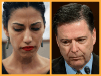 (R)Huma Abedin, wife of Anthony Weiner, a leading candidate for New York City mayor, listens as her husband speaks at a press conference on July 23, 2013 in New York City. (L) FBI Director James Comey testifies before the Senate Judiciary Committee on Capitol Hill in Washington, DC, May 3, …