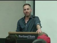 Chadwick Moore speaking at Portland State University.