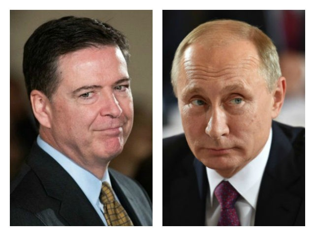 FBI Director James Comey and Russia President Vladimir Putin