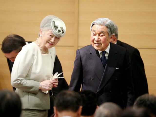 TOKYO, JAPAN - APRIL 28: (CHINA OUT, SOUTH KOREA OUT) Emperor Akihito and Empress Michiko attend the Ceremony of awarding the MIDORI Prize at the Parliamentary Museum on April 28, 2017 in Tokyo, Japan. (Photo by The Asahi Shimbun via Getty Images)