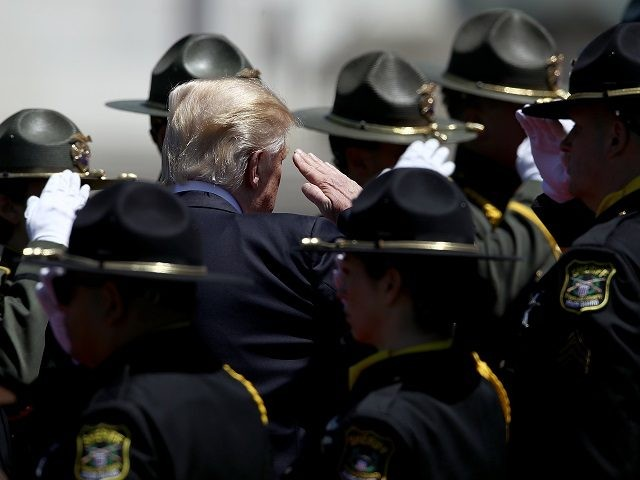 WASHINGTON, DC - MAY 15: U.S. President Donald Trump departs the 36th annual National Peace Officers' Memorial Service at the U.S. Capitol on May 15, 2017 in Washington, DC. The service is part of National Police Week and honors police officers across the country, and the families of those who …
