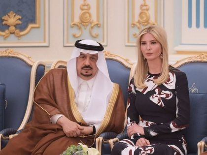Ivanka Trump is seen at a ceremony where her father US President Donald Trump received the Order of Abdulaziz al-Saud medal from Saudi Arabia's King Salman bin Abdulaziz al-Saud at the Saudi Royal Court in Riyadh on May 20, 2017. / AFP PHOTO / MANDEL NGAN (Photo credit should read …