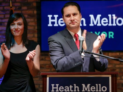 With wife Catherine by his side, Democratic mayoral candidate Heath Mello concedes the election to the incumbent, Republican Omaha mayor Jean Stothert, in Omaha, Neb., Tuesday, May 9, 2017. The race has drawn national attention as Democrats seek new energy given huge Republican gains in local, state and federal offices …