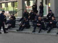 Idle Berkeley cops (Joel Pollak / Breitbart News)