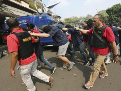 Indonesian police arrested 141 men for allegedly having a gay sex party at a spa in Jakarta on Sunday, the New York Times reported.