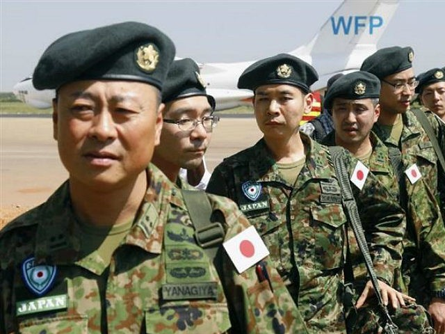 Japan's Ground Self-Defense Force unit arrives in Juba on Nov. 21, 2016, to participate in U.N. Peacekeeping activities. The unit is tasked with fresh roles in line with a new security law -- it can go to the rescue of U.N. staff and others under attack and join foreign troops …