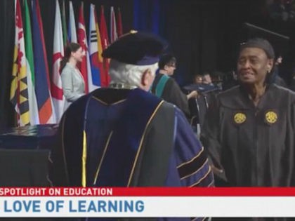 Lucy Capers, 79, collected her bachelor's degree from the University of Maryland University College on Sunday