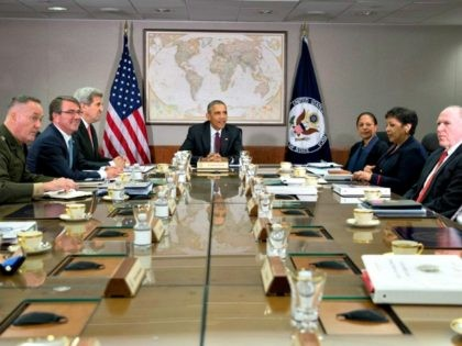 President Barack Obama hosts meeting of his National Security Council (NSC) at the State Department in Washington, Thursday, Feb. 25, 2016. The meeting is to focus on the global campaign to degrade and destroy ISIL as well as Syria and other regional issues. Seated with the president from left, Joint …