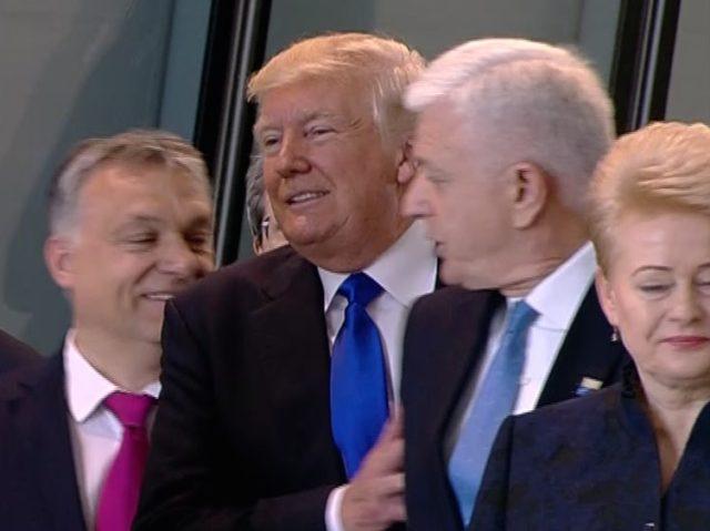 President Trump shoves Montenegro PM (NATO TV / Associated Press)