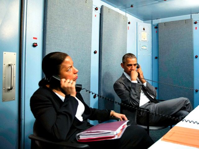 President Barack Obama and National Security Adviser Susan E. Rice talk on the phone with Homeland Security Advisor Lisa Monaco to receive an update on a terrorist attack in Brussels Belgium. The President made the call from the residence of the U.S. Chi