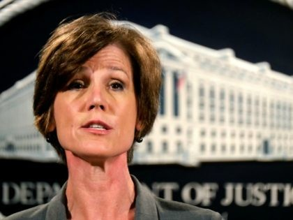 Deputy Attorney General Sally Yates announces a settlement with Volkswagen during a news conference at the Justice Department in Washington, Tuesday, June 28, 2016. Volkswagen will spend more than $15 billion to settle consumer lawsuits and government allegations that it cheated on emissions tests in what lawyers are calling the …
