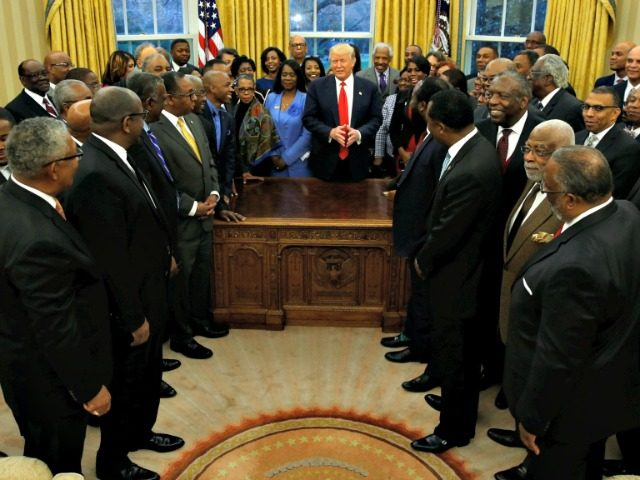 U.S. President Donald Trump welcomes the leaders of dozens of historically black colleges and universities (HBCU) in the Oval Office at the White House in Washington, U.S. February 27, 2017. REUTERS/Jonathan Ernst