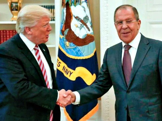 President Donald Trump shakes hands with Russian Russian Foreign Minister Sergey Lavrov in the White House in Washington, Wednesday, May 10, 2017. President Donald Trump on Wednesday welcomed Vladimir Putin's top diplomat to the White House for Trump's highest level face-to-face contact with a Russian government official since he took …