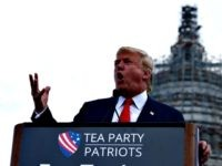Republican presidential candidate Donald Trump speaks at a rally organized by Tea Party Patriots in on Capitol Hill in Washington, Wednesday, Sept. 9, 2015, to oppose the Iran nuclear agreement. (AP Photo/Carolyn Kaster)