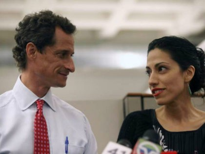 Huma Abedin, wife of Anthony Weiner, a leading candidate for New York City mayor, speaks during a press conference on July 23, 2013 in New York City. Weiner addressed news of new allegations that he engaged in lewd online conversations with a woman after he resigned from Congress for similar …