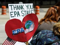DENVER, CO - MAY 11: Coloradans Stand with U.S. Environmental Protection Agency rally outside of the EPA offices on the 16th St. Mall May 11, 2017 in Denver, Colorado. Multiple conservation organizations were on hand for a lunch-hour rally to thank EPA staff for their efforts to combat climate change, protecting public health and denouncing the Trump administration's attempts to huge cuts in the program. (Photo by Andy Cross/The Denver Post via Getty Images)