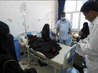 Yemenis suspected of being infected with cholera receive treatment at a hospital in Sanaa on May 25, 2017. Cholera has killed 315 people in Yemen in under a month, the World Health Organization has said, as another aid organisation warned Monday the outbreak could become a 'full-blown epidemic'. / AFP …
